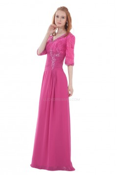 A-Line V-Neck Half Sleeve Beaded Lace and Chiffon Mother of the Bride Dresses M010006