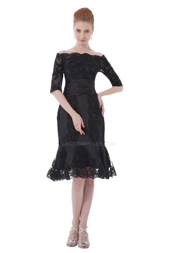 Mermaid Half Sleeve Off-the-Shoulder Beaded Applique Short Mother of the Bride Dresses M010007