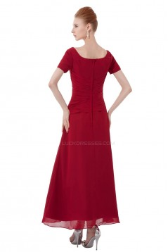 A-Line Short Sleeve Beaded Chiffon Mother of the Bride Dresses M010008