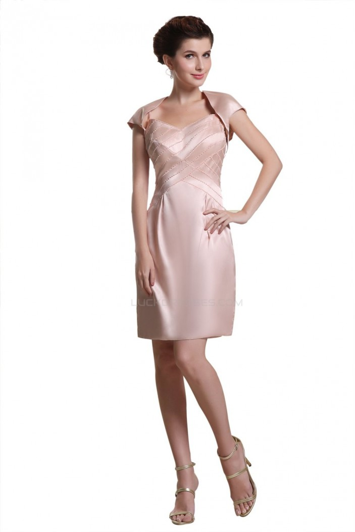 Short Spaghetti Strap Mother of the Bride Dresses with A Jacket M010009