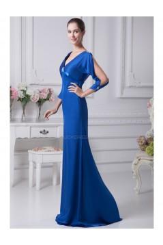 Trumpet/Mermaid V-Neck Long Blue Mother of the Bride Dresses M010010