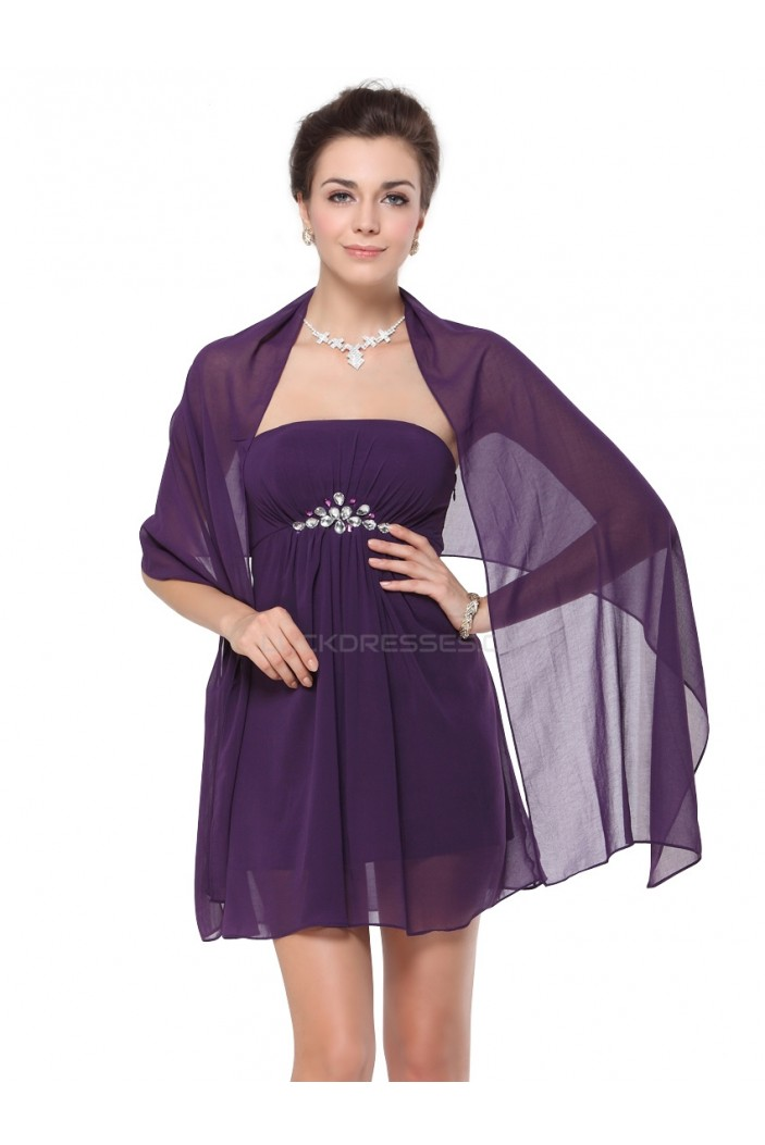 A-Line Strapless Short Chiffon Mother of the Bride Dresses with A Wrap M010012