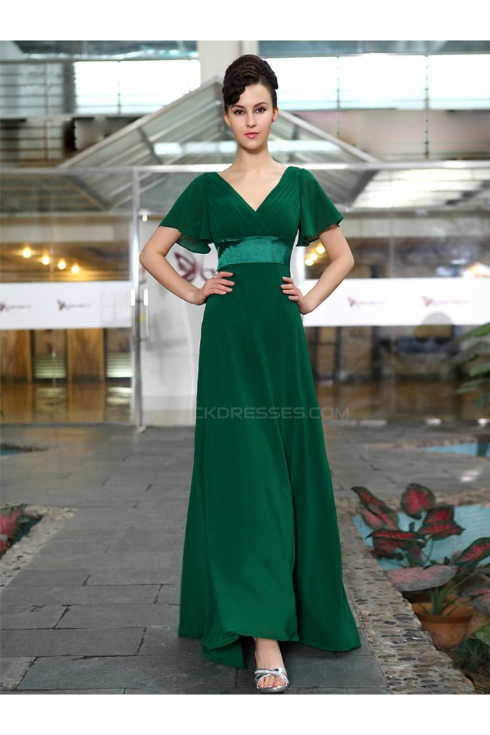 A-Line V-Neck Long Chiffon Mother of the Bride Dresses M010013