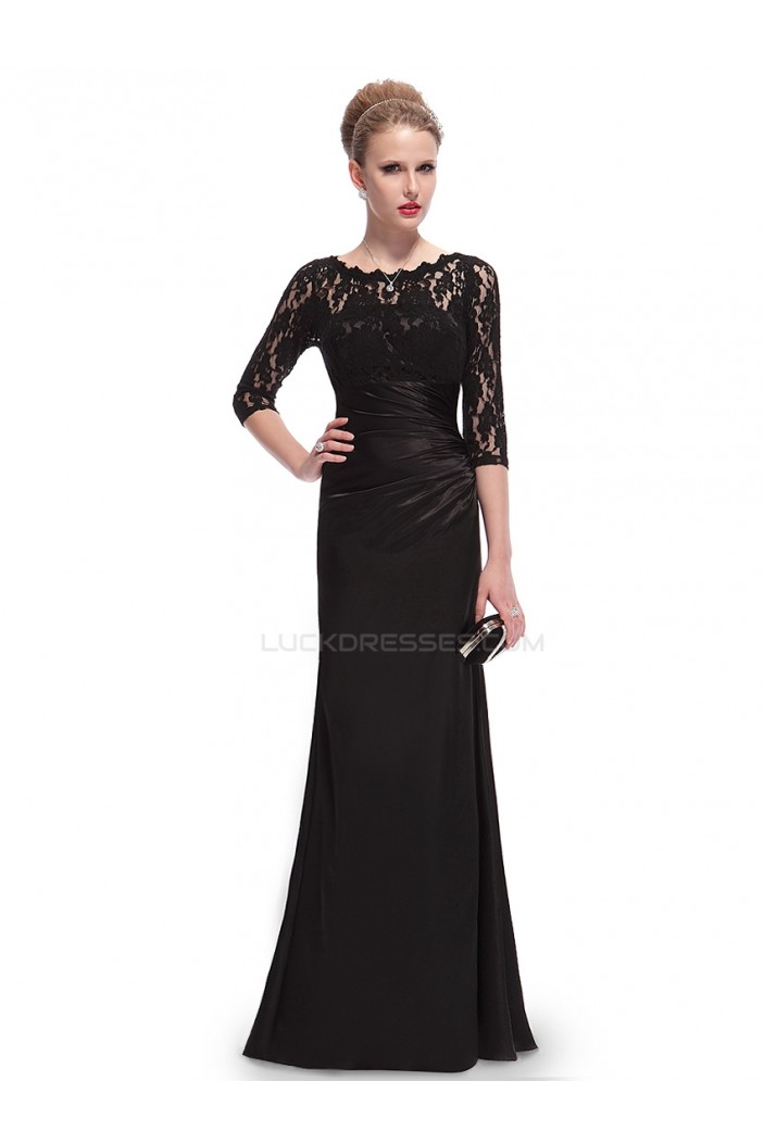Elegant Long Black Lace Mother of the Bride Dresses M010014