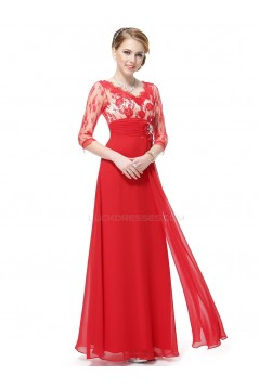 A-Line V-Neck 3/4 Sleeve Lace and Chiffon Mother of the Bride Dresses M010015