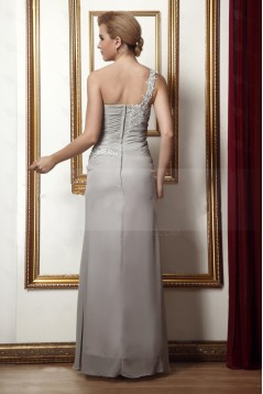 Elegant One-Shoulder Beaded Applique Long Chiffon Mother of the Bride Dresses with A Jacket M010016