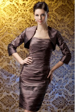 Sheath Short Strapless Mother of the Bride Dresses with A Jacket M010017