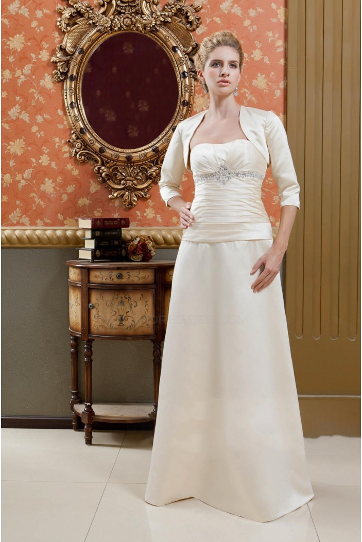 A-Line Strapless Beaded Long Mother of the Bride Dresses with A Jacket M010020
