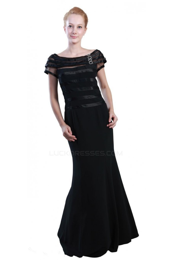 Trumpet/Mermaid Off-the-Shoulder Long Black Mother of the Bride Dresses M010021