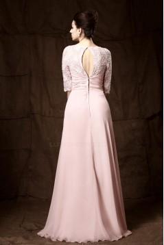 Sheath/Column Half Sleeve Beaded Long Chiffon Mother of the Bride Dresses M010023