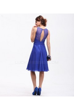 A-Line Beaded Short Chiffon Mother of the Bride Dresses M010025