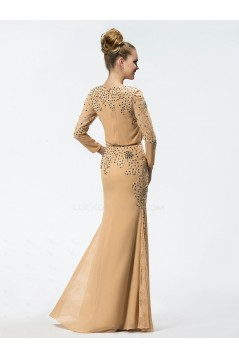 Trumpet/Mermaid Beaded Lace and Chiffon Long Mother of the Bride Dresses M010027