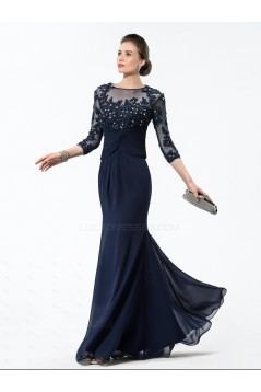 Elegant Trumpet/Mermaid Beaded Applique 3/4 Sleeve Long Chiffon Mother of the Bride Dresses M010028