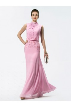 Trumpet/Mermaid Beaded High Neck Long Pink Chiffon Mother of the Bride Dresses M010029