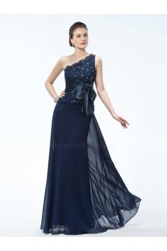Elegant One-Shoulder Long Navy Blue Mother of the Bride Dresses M010030