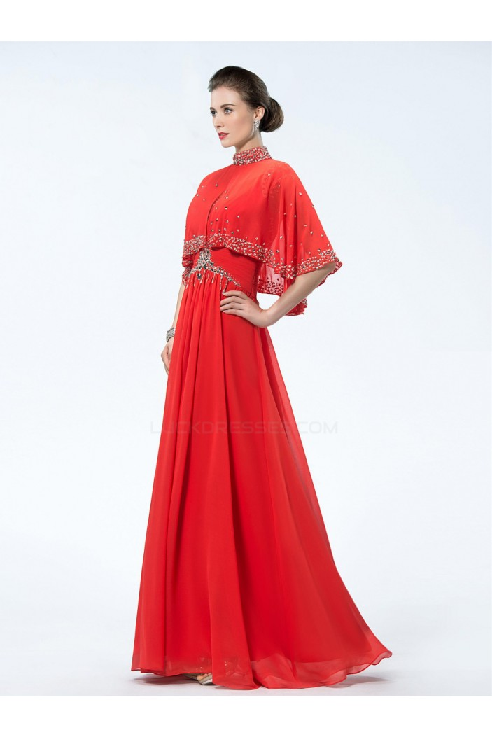A-Line Beaded Long Red Chiffon Mother of the Bride Dresses M010033
