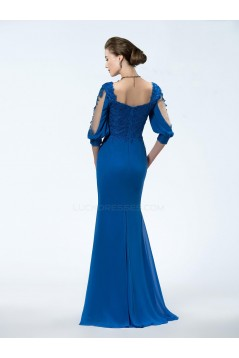 Trumpet/Mermaid 3/4 Sleeve Lace Applique and Chiffon Long Blue Mother of the Bride Dresses M010034