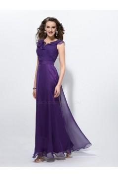 A-Line Long Purple Chiffon Mother of the Bride Dresses M010035