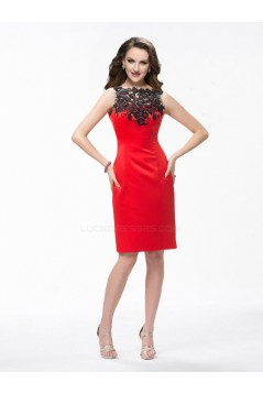 Sheath Short Beaded Red Mother of the Bride Dresses M010038