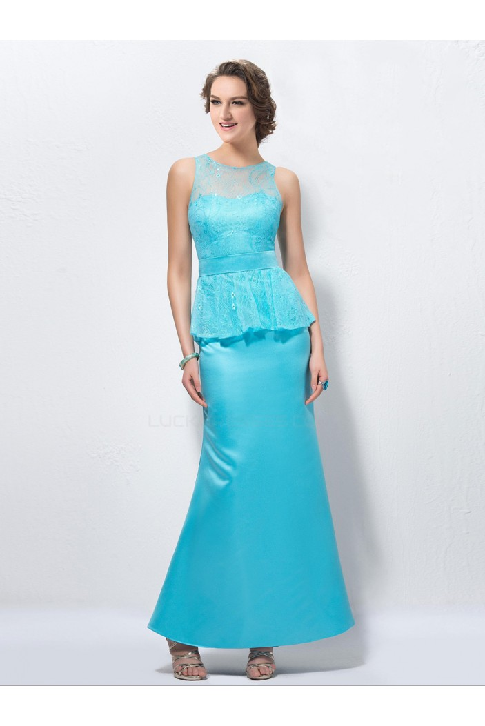 Trumpet/Mermaid Lace and Satin Long Blue Mother of the Bride Dresses M010039