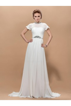 A-Line Beaded Long Chiffon Mother of the Bride Dresses M010041