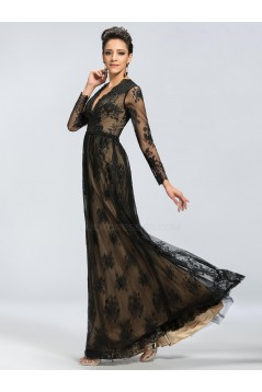 A-Line V-Neck Long Sleeve Beaded Black Lace Mother of the Bride Dresses M010044