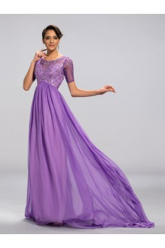 A-Line Beaded Short Sleeve Long Chiffon Mother of the Bride Dresses M010046