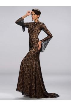 Trumpet/Mermaid Jewel Long Sleeve Black Lace Mother of the Bride Dresses M010048
