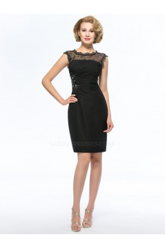 Elegant Short Beaded Black Mother of the Bride Dresses M010049