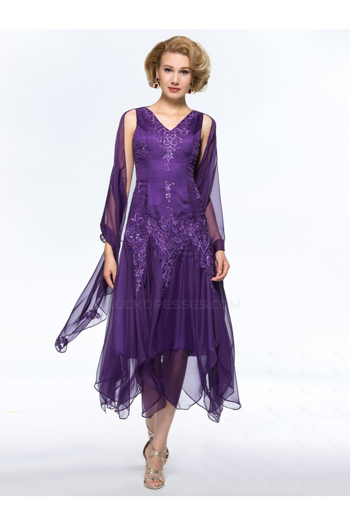A-Line Beaded V-Neck Short Purple Embroidery Mother of the Bride Dresses M010051