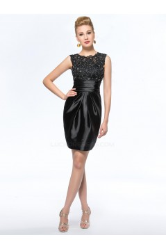 Black Short Beaded Applique Mother of the Bride Dresses M010052