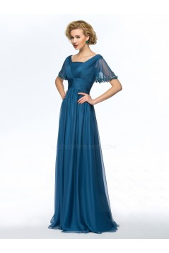 A-Line Beaded Short Sleeve Chiffon Mother of the Bride Dresses M010053