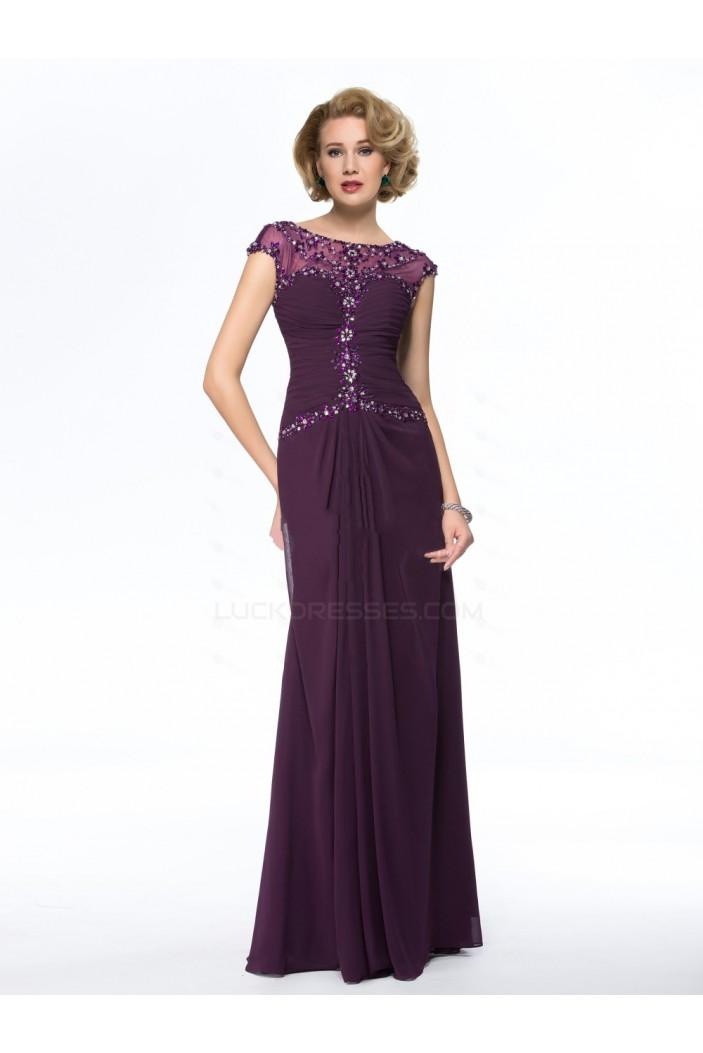 Elegant Sheath Cap-Sleeve Long Chiffon Beaded Mother of the Bride Dresses M010055