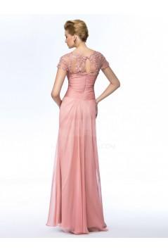 Sheath Short Sleeve Long Chiffon Mother of the Bride Dresses M010057