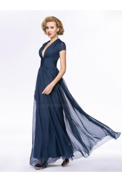 A-Line Deep V-Neck Cap-Sleeve Long Chiffon Mother of the Bride Dresses M010058