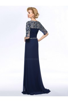 A-Line Beaded Half Sleeve Long Blue Chiffon Mother of the Bride Dresses M010060