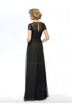 A-Line Beaded Lace and Chiffon Long Black Mother of the Bride Dresses M010061