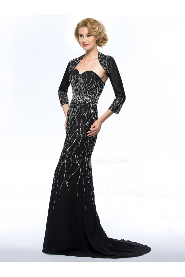 Trumpet/Mermaid Sweetheart Beaded Long Black Mother of the Bride Dresses with A Jacket M010062