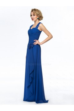 Sheath Straps Sleeveless Long Blue Chiffon Mother of the Bride Dresses M010063