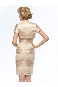 Short Strapless Lace and Satin Mother of the Bride Dresses with A Jacket M010067