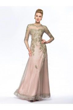 A-Line Jewel Long Sleeve Lace Mother of the Bride Dresses M010069