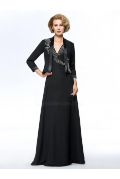 A-Line V-Neck Beaded Long Black Mother of the Bride Dresses with A Jacket M010070