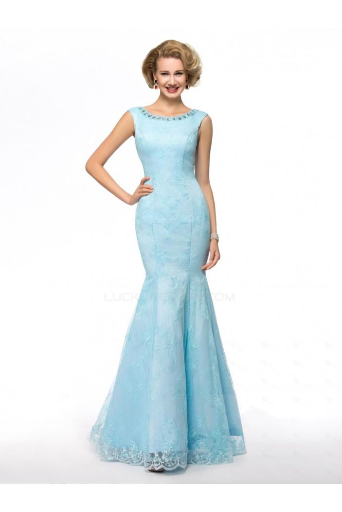 Elegant Trumpet/Mermaid Beaded Long Blue Lace Mother of the Bride Dresses M010071