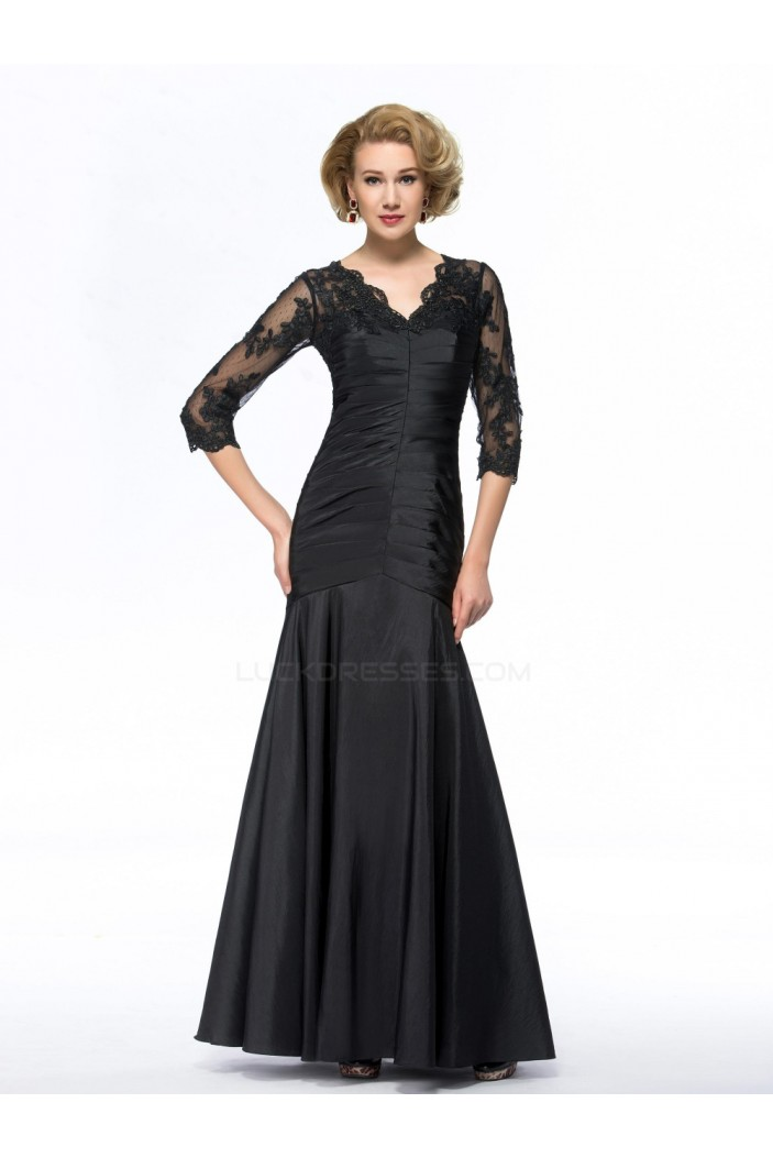 Trumpet/Mermaid V-Neck Long Black Mother of the Bride Dresses M010073