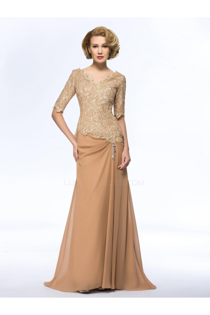 Elegant V-Neck Half Sleeve Lace and Chiffon Mother of the Bride Dresses M010074
