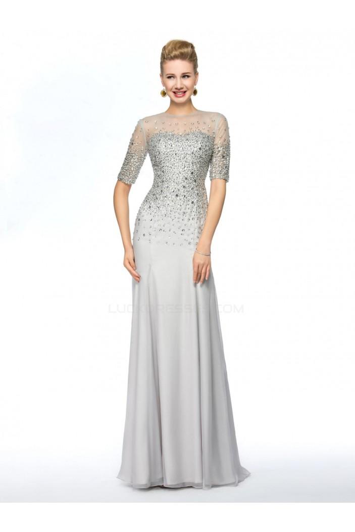 Beaded Short Sleeve Jewel Long Chiffon Mother of the Bride Dresses M010075