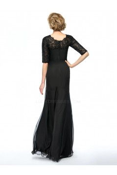 Trumpet/Mermaid Half Sleeve Lace and Chiffon Long Black Mother of the Bride Dresses M010076