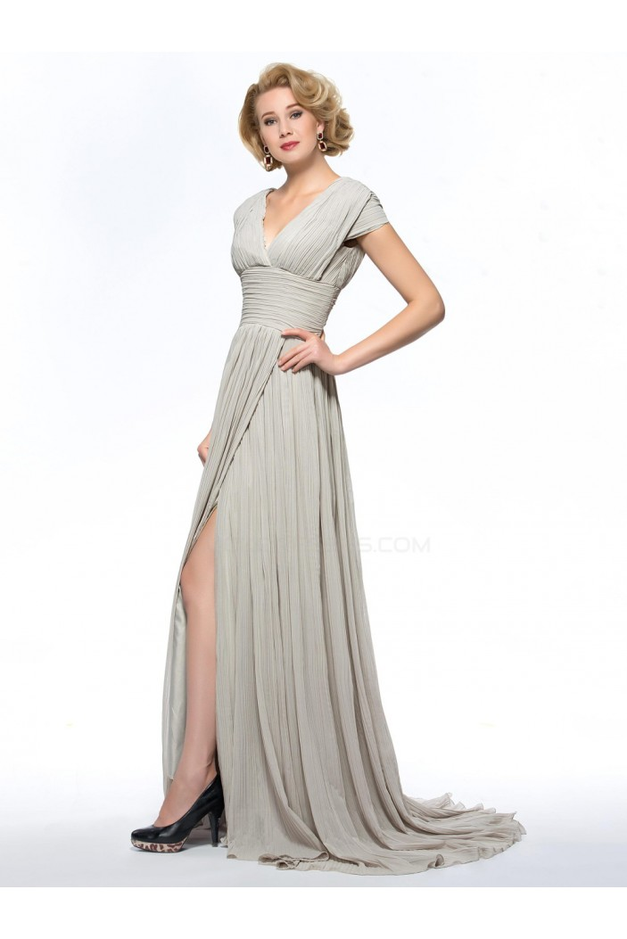 A-Line V-Neck Cap-Sleeve Pleated Split-Front Long Chiffon Mother of the Bride Dresses M010077