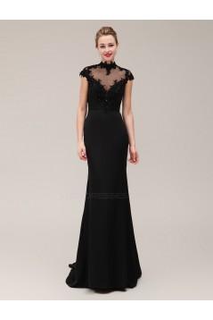 Trumpet/Mermaid High-Neck Long Black Beaded Applique Mother of the Bride Dresses M010078