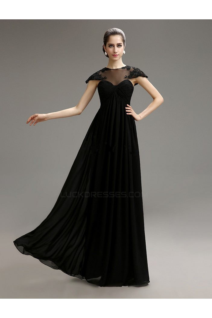 Empire Cap-Sleeve Long Black Chiffon Mother of the Bride Dresses M010079